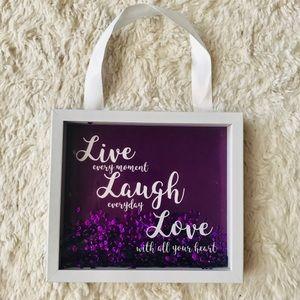 Live Laugh Love Purple Glitter Wall Inspiration